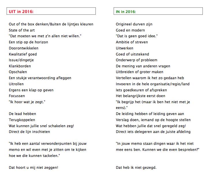 Duidelijke taal in 2016